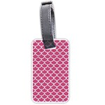 SCALES1 WHITE MARBLE & PINK DENIM Luggage Tags (One Side)  Front