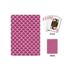 Scales1 White Marble & Pink Denim Playing Cards (mini)  by trendistuff