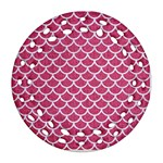 SCALES1 WHITE MARBLE & PINK DENIM Ornament (Round Filigree) Front