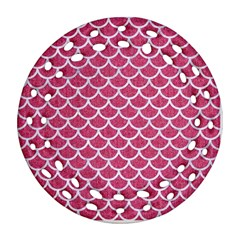 Scales1 White Marble & Pink Denim Round Filigree Ornament (two Sides)