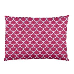 Scales1 White Marble & Pink Denim Pillow Case (two Sides) by trendistuff