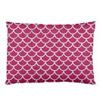 SCALES1 WHITE MARBLE & PINK DENIM Pillow Case (Two Sides) Front