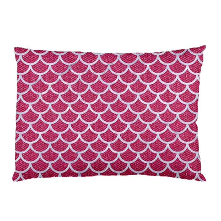 SCALES1 WHITE MARBLE & PINK DENIM Pillow Case (Two Sides)