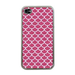 Scales1 White Marble & Pink Denim Apple Iphone 4 Case (clear) by trendistuff
