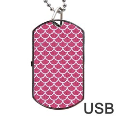 Scales1 White Marble & Pink Denim Dog Tag Usb Flash (one Side)