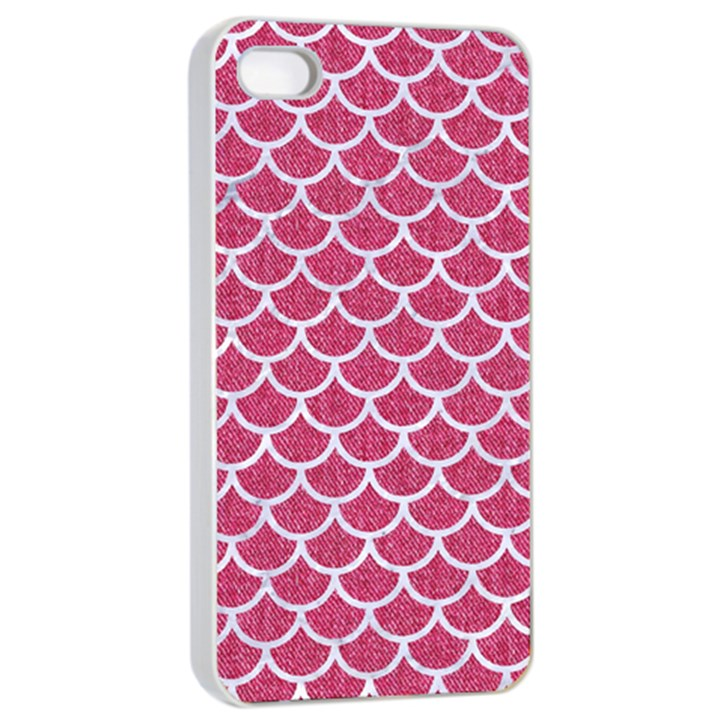 SCALES1 WHITE MARBLE & PINK DENIM Apple iPhone 4/4s Seamless Case (White)