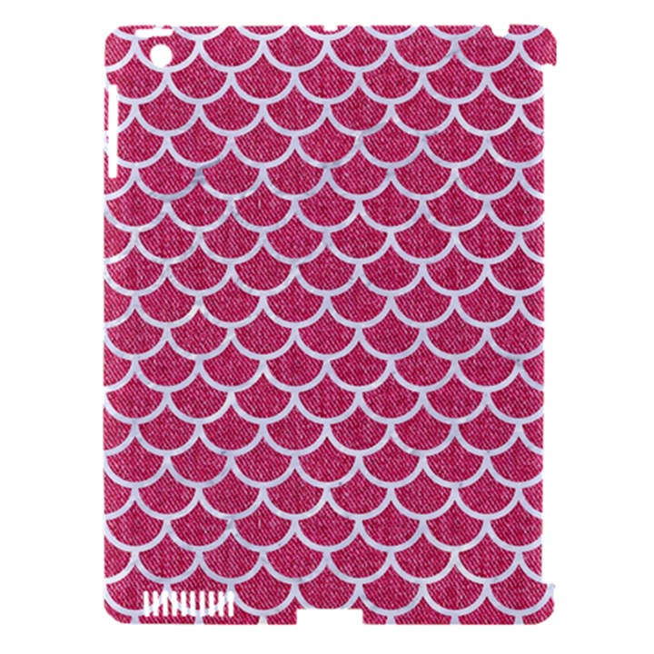 SCALES1 WHITE MARBLE & PINK DENIM Apple iPad 3/4 Hardshell Case (Compatible with Smart Cover)