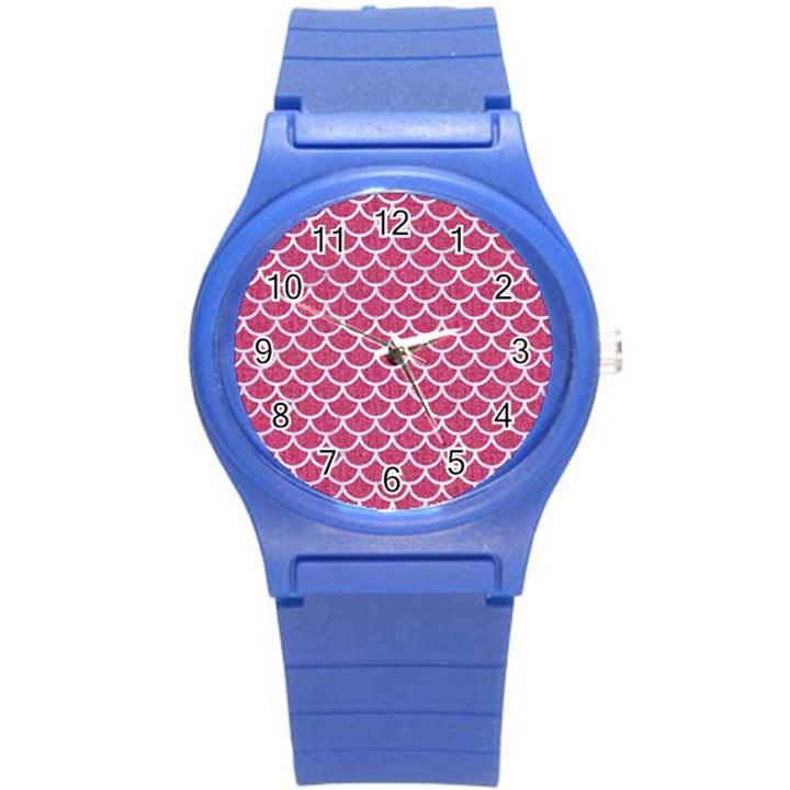 SCALES1 WHITE MARBLE & PINK DENIM Round Plastic Sport Watch (S)