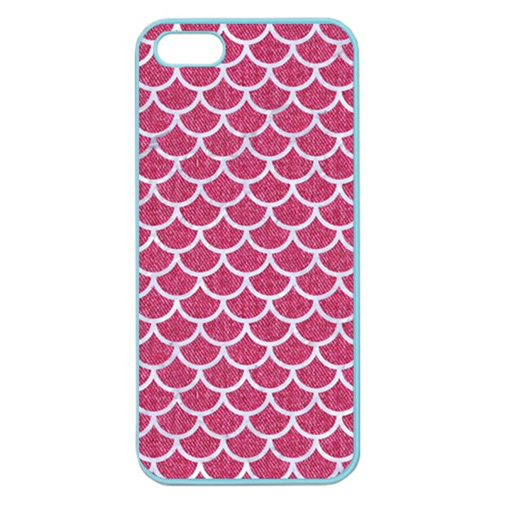 SCALES1 WHITE MARBLE & PINK DENIM Apple Seamless iPhone 5 Case (Color)