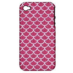 Scales1 White Marble & Pink Denim Apple Iphone 4/4s Hardshell Case (pc+silicone) by trendistuff