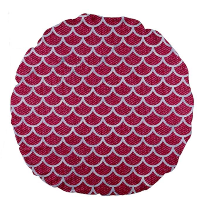 SCALES1 WHITE MARBLE & PINK DENIM Large 18  Premium Round Cushions
