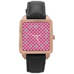 SCALES1 WHITE MARBLE & PINK DENIM Rose Gold Leather Watch  Front