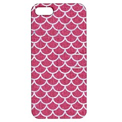Scales1 White Marble & Pink Denim Apple Iphone 5 Hardshell Case With Stand