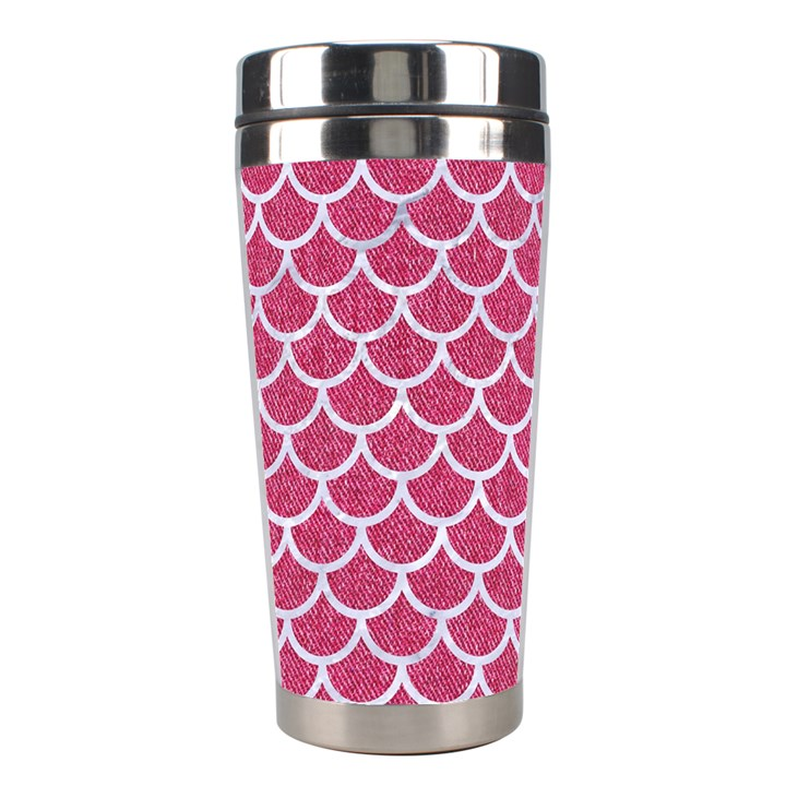 SCALES1 WHITE MARBLE & PINK DENIM Stainless Steel Travel Tumblers
