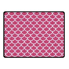 Scales1 White Marble & Pink Denim Double Sided Fleece Blanket (small)