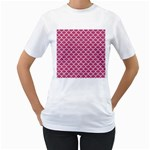 SCALES1 WHITE MARBLE & PINK DENIM Women s T-Shirt (White)  Front