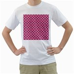 SCALES1 WHITE MARBLE & PINK DENIM Men s T-Shirt (White)  Front
