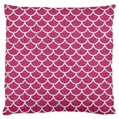 Scales1 White Marble & Pink Denim Large Flano Cushion Case (two Sides) by trendistuff