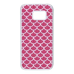 Scales1 White Marble & Pink Denim Samsung Galaxy S7 White Seamless Case