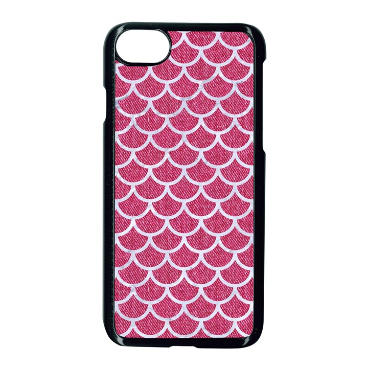 SCALES1 WHITE MARBLE & PINK DENIM Apple iPhone 8 Seamless Case (Black)
