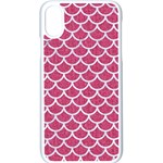 SCALES1 WHITE MARBLE & PINK DENIM Apple iPhone X Seamless Case (White) Front