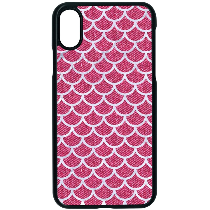 SCALES1 WHITE MARBLE & PINK DENIM Apple iPhone X Seamless Case (Black)