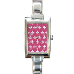 Royal1 White Marble & Pink Denim (r) Rectangle Italian Charm Watch