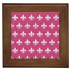 ROYAL1 WHITE MARBLE & PINK DENIM (R) Framed Tiles