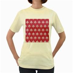 Royal1 White Marble & Pink Denim (r) Women s Yellow T Shirt
