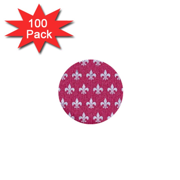 ROYAL1 WHITE MARBLE & PINK DENIM (R) 1  Mini Buttons (100 pack)