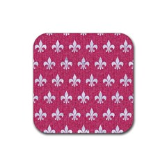 Royal1 White Marble & Pink Denim (r) Rubber Square Coaster (4 Pack)  by trendistuff