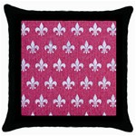 ROYAL1 WHITE MARBLE & PINK DENIM (R) Throw Pillow Case (Black) Front