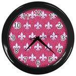ROYAL1 WHITE MARBLE & PINK DENIM (R) Wall Clocks (Black) Front