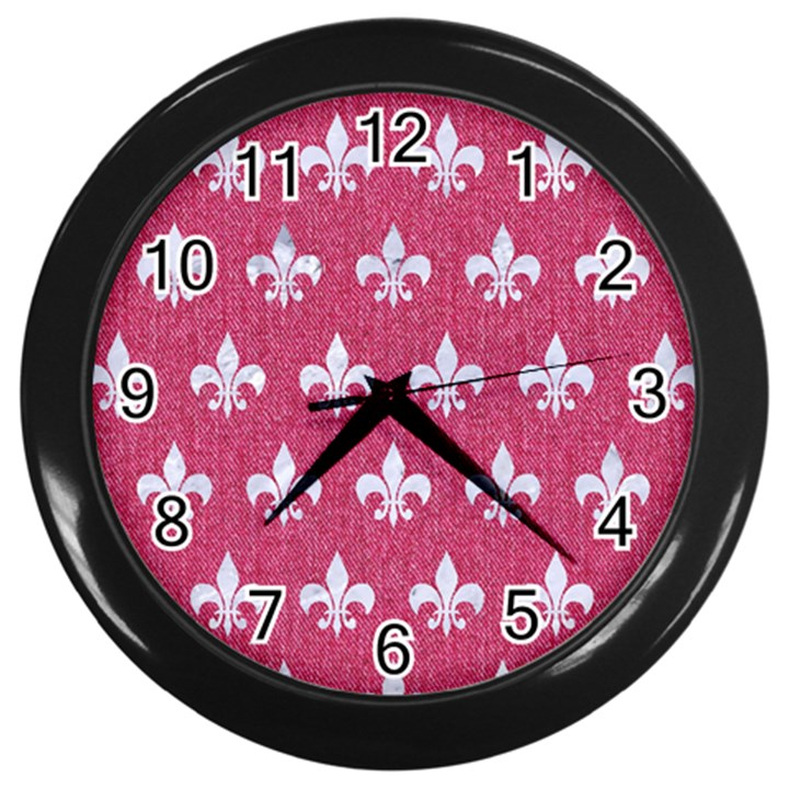 ROYAL1 WHITE MARBLE & PINK DENIM (R) Wall Clocks (Black)