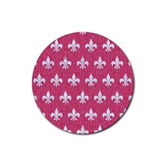 Royal1 White Marble & Pink Denim (r) Rubber Coaster (round)  by trendistuff