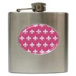 ROYAL1 WHITE MARBLE & PINK DENIM (R) Hip Flask (6 oz) Front