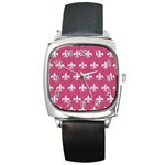 ROYAL1 WHITE MARBLE & PINK DENIM (R) Square Metal Watch Front