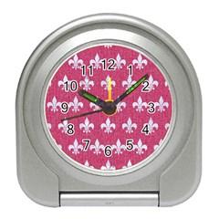 Royal1 White Marble & Pink Denim (r) Travel Alarm Clocks