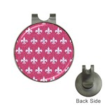 ROYAL1 WHITE MARBLE & PINK DENIM (R) Hat Clips with Golf Markers Front