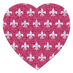 Royal1 White Marble & Pink Denim (r) Jigsaw Puzzle (heart)
