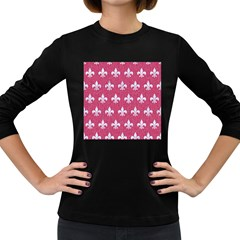 Royal1 White Marble & Pink Denim (r) Women s Long Sleeve Dark T Shirts by trendistuff