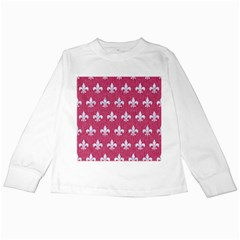 Royal1 White Marble & Pink Denim (r) Kids Long Sleeve T Shirts