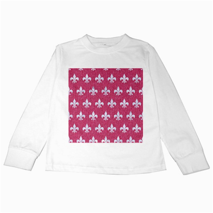 ROYAL1 WHITE MARBLE & PINK DENIM (R) Kids Long Sleeve T-Shirts