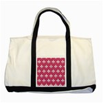 ROYAL1 WHITE MARBLE & PINK DENIM (R) Two Tone Tote Bag Front