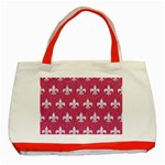 ROYAL1 WHITE MARBLE & PINK DENIM (R) Classic Tote Bag (Red) Front