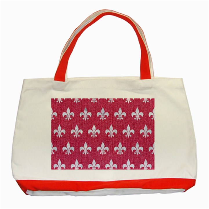 ROYAL1 WHITE MARBLE & PINK DENIM (R) Classic Tote Bag (Red)