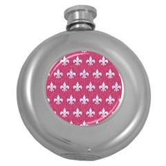 ROYAL1 WHITE MARBLE & PINK DENIM (R) Round Hip Flask (5 oz)
