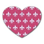 ROYAL1 WHITE MARBLE & PINK DENIM (R) Heart Mousepads Front