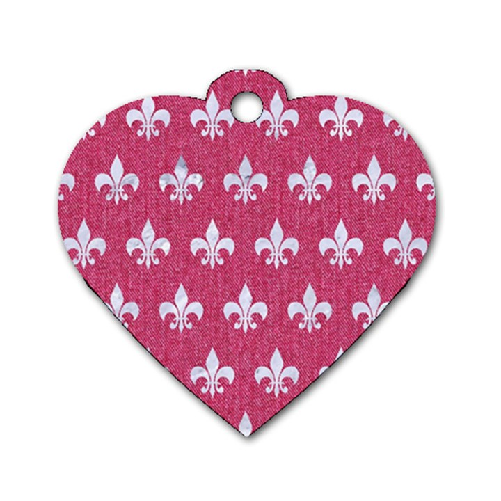 ROYAL1 WHITE MARBLE & PINK DENIM (R) Dog Tag Heart (One Side)