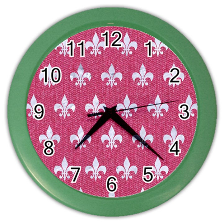 ROYAL1 WHITE MARBLE & PINK DENIM (R) Color Wall Clocks